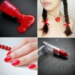 röd skönhet collage — Stockfoto