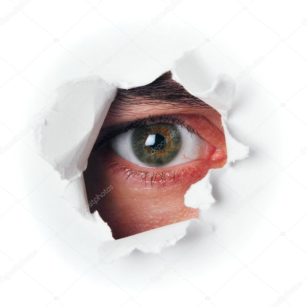 Spy green eye in hole — Stock Photo #6118609