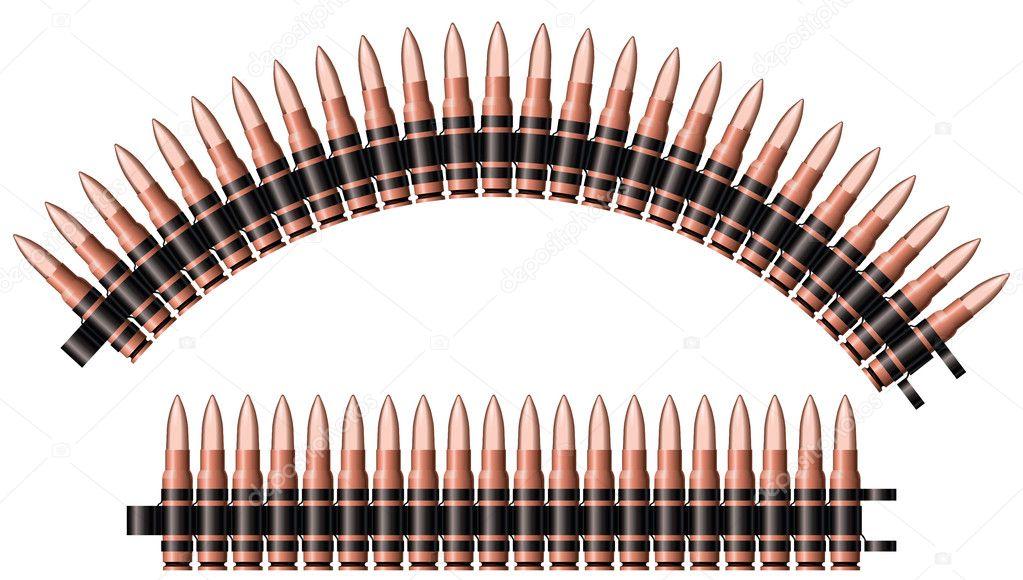 Machine Gun Bullet Belt Two Machine Gun Belts Vector