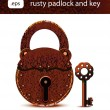 Rusty padlock and key. — Stock Vector