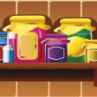 Kitchen shelf. — Stock Vector