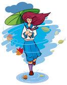 Autumn rain. — Stock Vector
