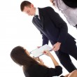 Women show in document to bussines men and women — Stock Photo