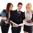 The business team look in the folder — Stock Photo