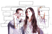 The business team are writing a marketing plan. — Stock Photo