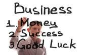 De zakenman schrijft over bedrijf — Stockfoto