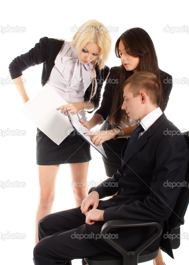 The business team reports to the leader on white background. — Stock Photo #5843949