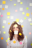 Secretary with many notes — Stock Photo