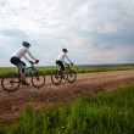 Couple relax biking — Stock Photo