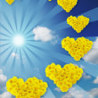 Dance of hearts. Sky. Sun - Stock Photo