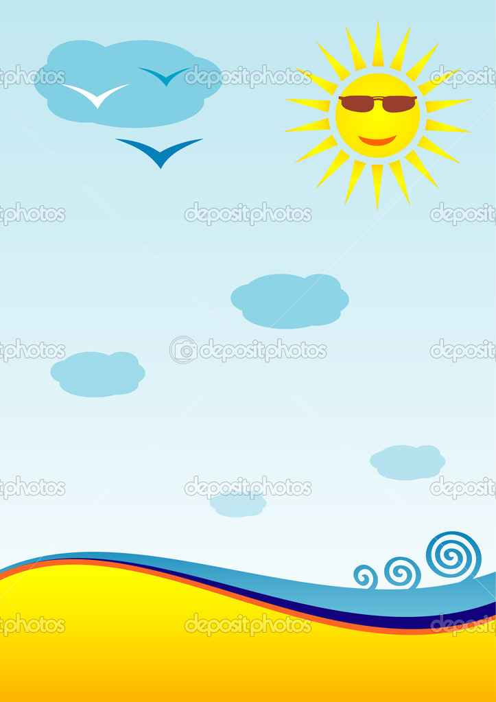 A beach, the sea, the sun. Vector drawing.  A substrate for cut-away, leaflets.  Stock Vector #5780565