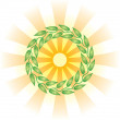 Circle from leaves and the sun. Vector drawing. - Stock Vector