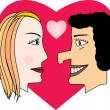 The man and the woman. Love and heart — Stock Vector #5959725