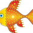 Solar fish. Symbolical Drawing. — 图库矢量图片