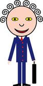 Glimlachende man in een blauwe pak. humor — Stockvector