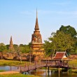 Ancient pagoda in Ayutthaya with lake vertical — Stock Photo #6377001