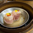 Dimsum in bamboo container closed up — Stock Photo