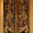 Stock Photo: Thai wooden carving door