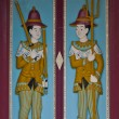Thai wooden carving door guardian pattern — Stock Photo #6378253