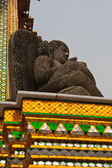Black Buddha statue in temple of emerald Buddha from right — Stock Photo