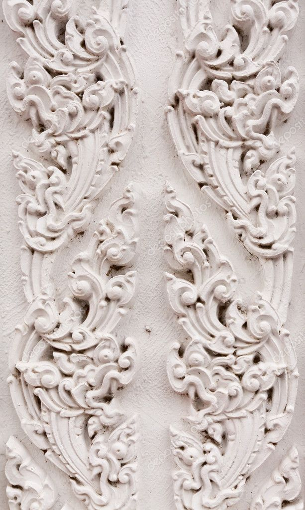 White thai style pattern on wall in Buddhist temple — Stock Photo #6375578