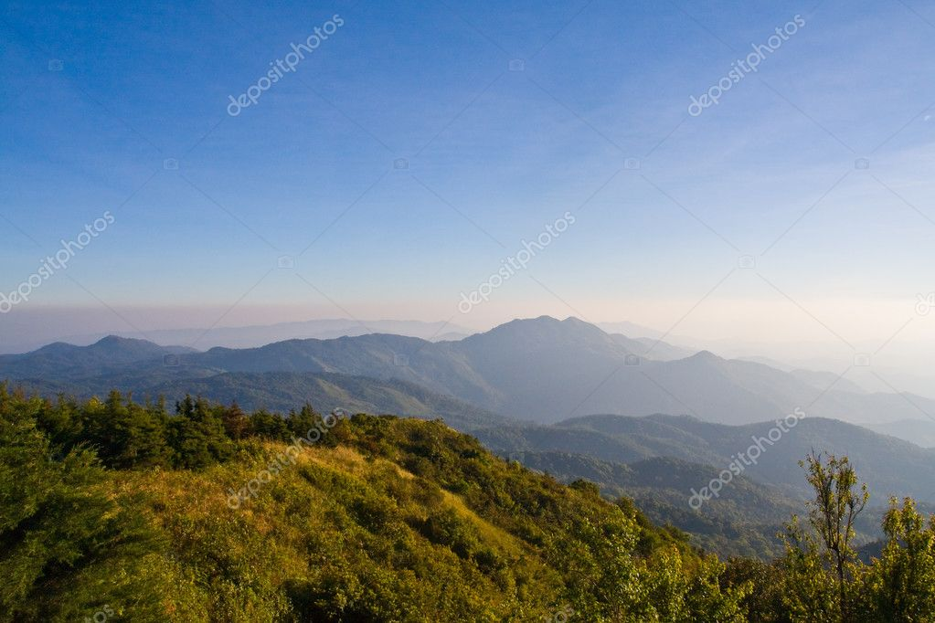 Fog on mountain in northern of Thailand  Stock Photo #6375693