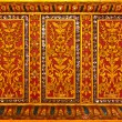 Thai style flower pattern design handcraft on wood — Stock Photo