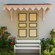 Thai style farcade with bench in front of windows — Foto Stock
