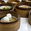 Egg Dimsum in bamboo container closed up — Stock Photo