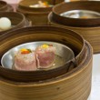 Royalty-Free Stock Photo: Ham Dimsum in bamboo container closed up