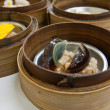 Preserved egg Dimsum in bamboo container closed up — Stock Photo