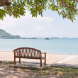 Rest bench under the tree at shore with shadow — Stock Photo