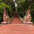 Overall of naga stairs of Wat Pathat Doi Suthep — Stock Photo