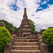 Buddhstatue in front of pagodin sukhothai — Stock Photo #6386132