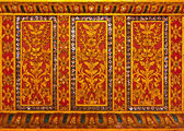 Thai style flower pattern design handcraft on wood — Stock Photo