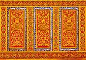 Thai style lion pattern design handcraft on wood — Stock Photo