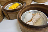 Squid Dimsum in bamboo container closed up — Stock Photo