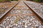 Train rail in horizontal endless — Stock Photo