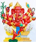 Red eight hands ganesha — Stock Photo