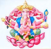 Pink ganesha sitting on lotus — Stock Photo