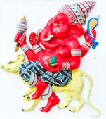 Red ganesha riding rat — 图库照片
