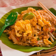 Padthai on bananleaf tilted out — Stock Photo #6443152