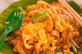 Padthai on banana leaf closed up tilted out — Stock Photo