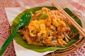 Padthai on banana leaf tilted out — Stock Photo