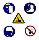 Five Warning sign for industrial use — Stock Photo