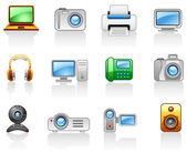 Electronics_ Computers_ Multimedia_ icon set — Stock Vector