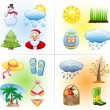 Seasons icon set: winter, spring, summer, autumn. — Stock Vector #5666516
