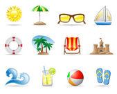 Sun Sea and Beach — Stock Vector