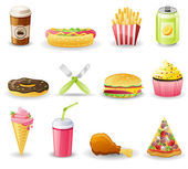 Fast food icon set. — Stock Vector