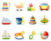 Toys icon set — Stock Vector